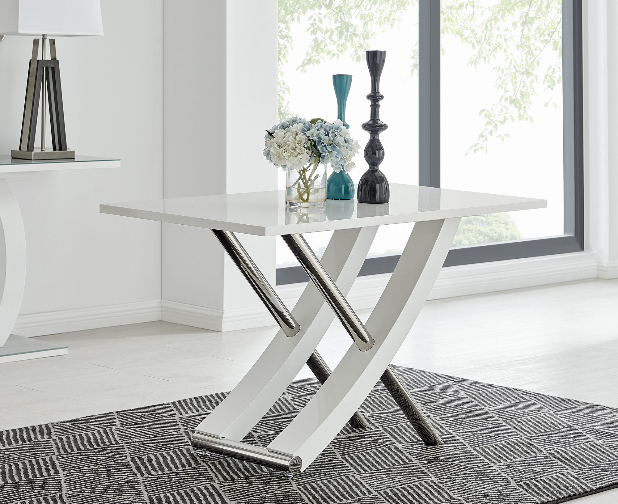 Mayfair 4 White High Gloss And Stainless Steel Dining Table