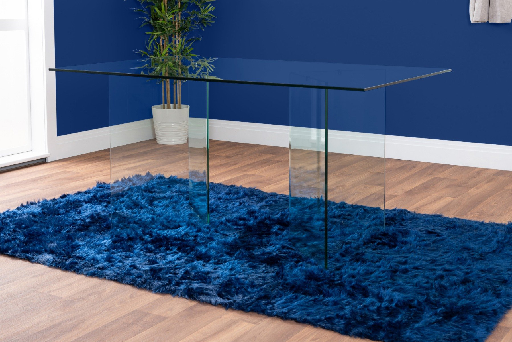 Turin Large Modern Clear All Glass Dining Table