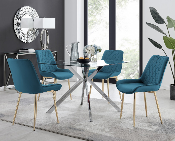 Lazio 4 Square Dining Table and 4 Pesaro Gold Leg Chairs