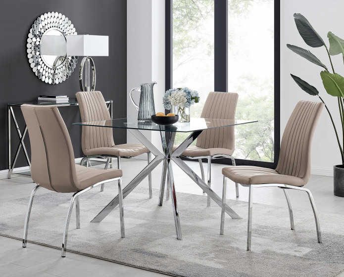 Lazio 4 Square Dining Table and 4 Isco Chairs