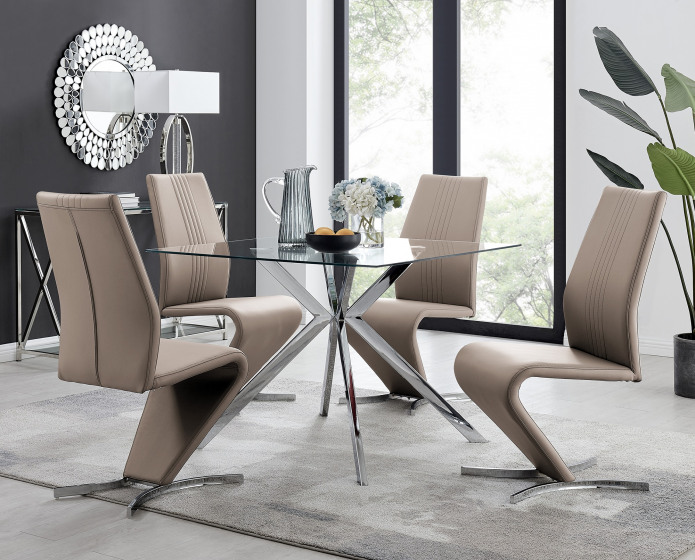 Lazio Square Glass Chrome Table And 4 Luxury Willow Chairs Set