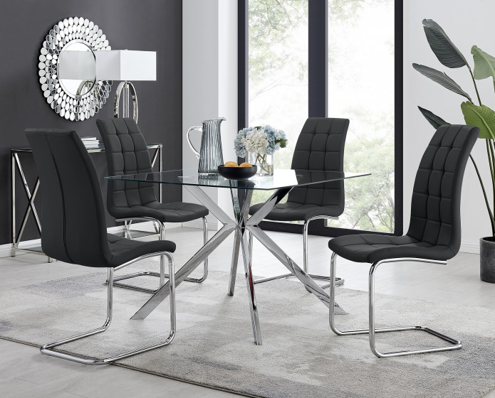 Lazio 4 Square Dining Table and 4 Murano Chairs