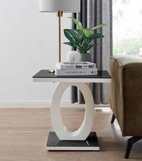 Giovani Modern Black White Halo High Gloss Glass Side End Table