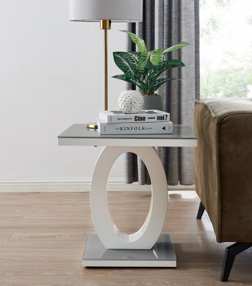 Giovani Modern Grey White Halo High Gloss Glass Side End Table