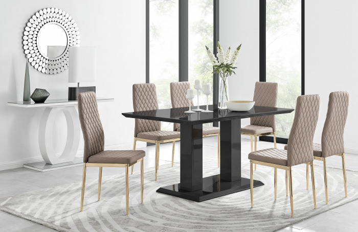 Imperia 6 Black Dining Table and 6 Gold Leg Milan Chairs
