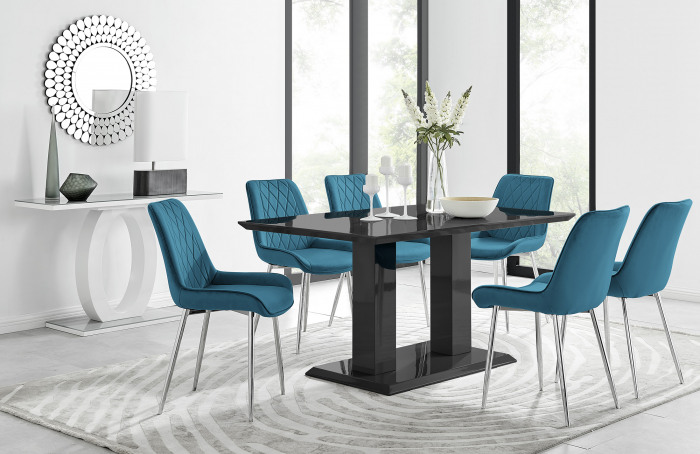 Imperia 6 Black Dining Table and 6 Pesaro Silver Leg Chairs