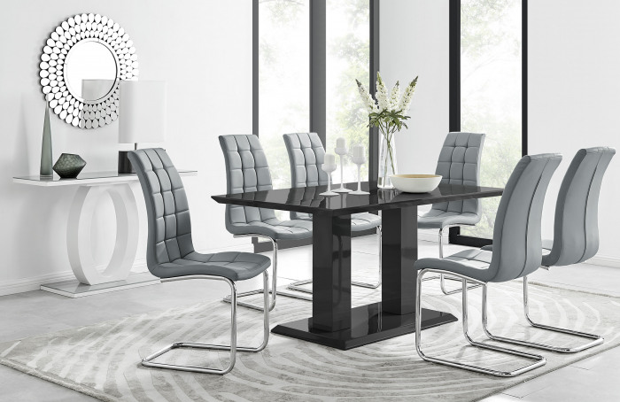 Imperia 6 Black Dining Table and 6 Murano Chairs
