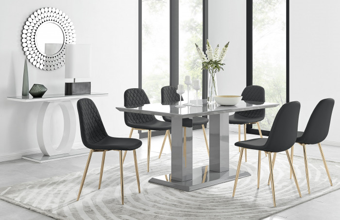 Imperia 6 Grey Dining Table and 6 Corona Gold Leg Chairs
