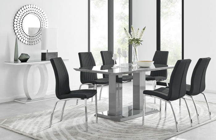 Imperia 6 Grey Dining Table and 6 Isco Chairs