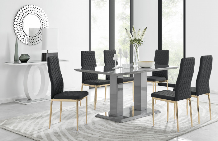 Imperia 6 Grey Dining Table and 6 Gold Leg Milan Chairs