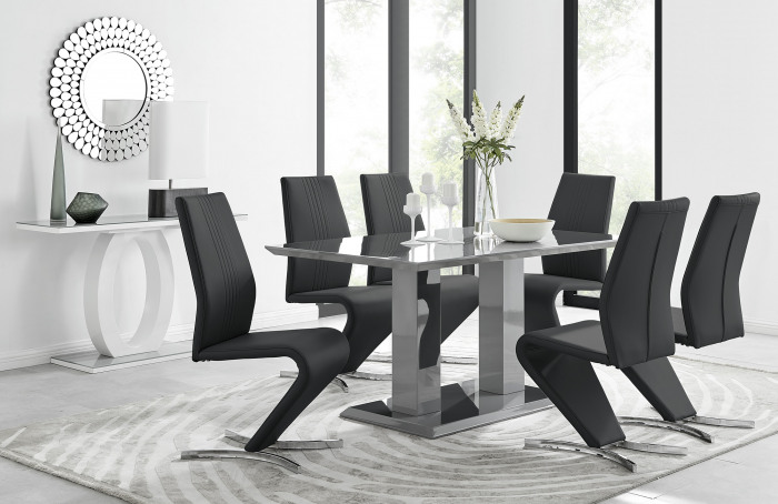 Imperia 6 Grey Dining Table and 6 Willow Chairs