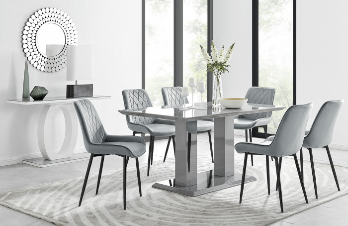 Imperia 6 Grey Dining Table and 6 Pesaro Black Leg Chairs