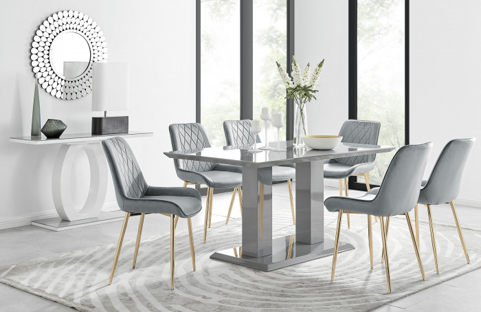 Imperia 6 Grey Dining Table and 6 Pesaro Gold Leg Chairs