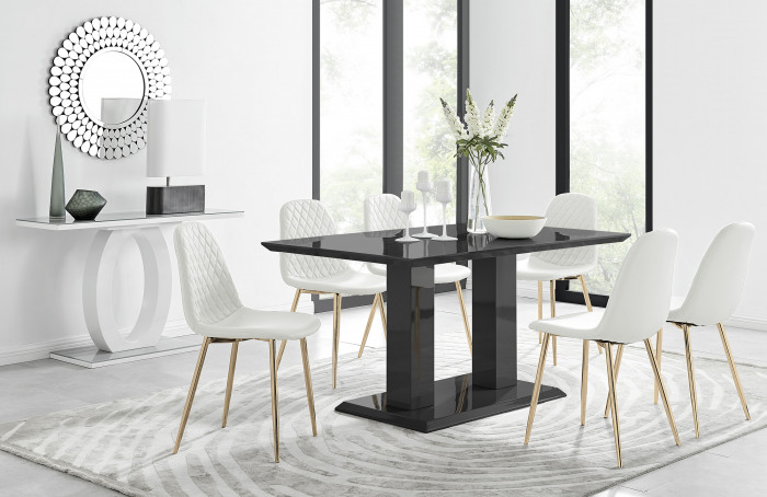 Imperia 6 Black Dining Table and 6 Corona Gold Leg Chairs