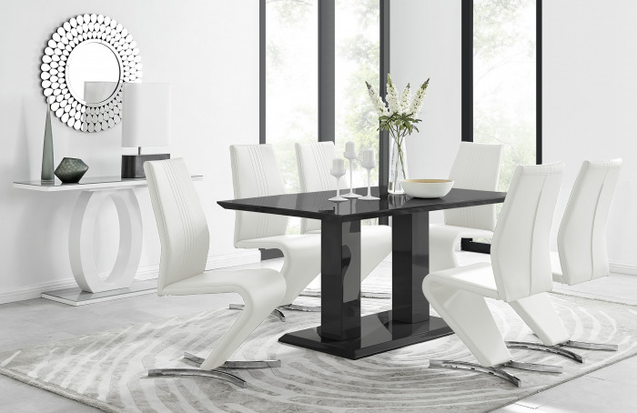 Imperia Black High Gloss Dining Table And 6 Luxury Willow Dining Chairs Set
