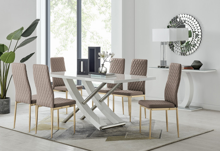 Mayfair 6 Dining Table and 6 Gold Leg Milan Chairs