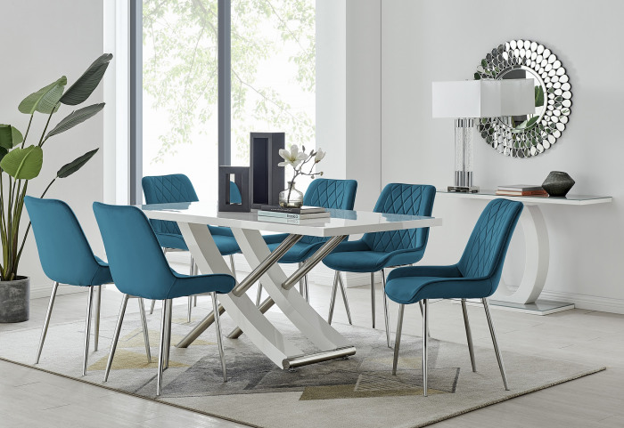 Mayfair 6 Dining Table and 6 Pesaro Silver Leg Chairs