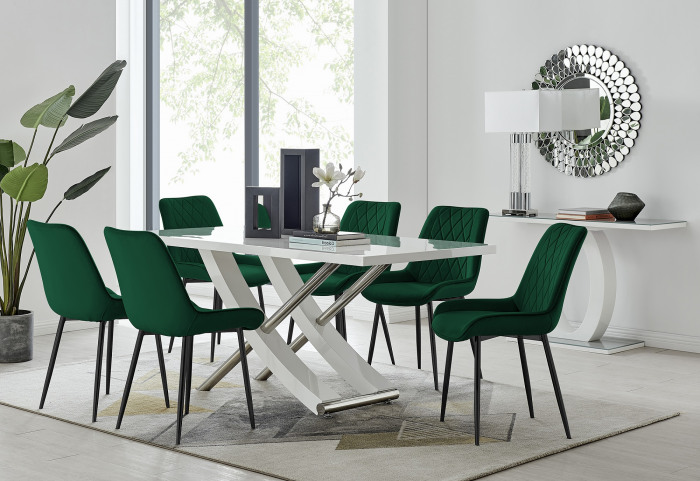 Mayfair 6 Dining Table and 6 Pesaro Black Leg Chairs