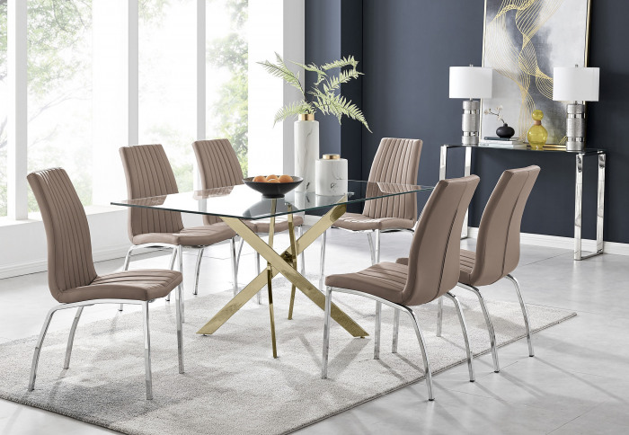 Leonardo 6 Gold Dining Table and 6 Isco Chairs