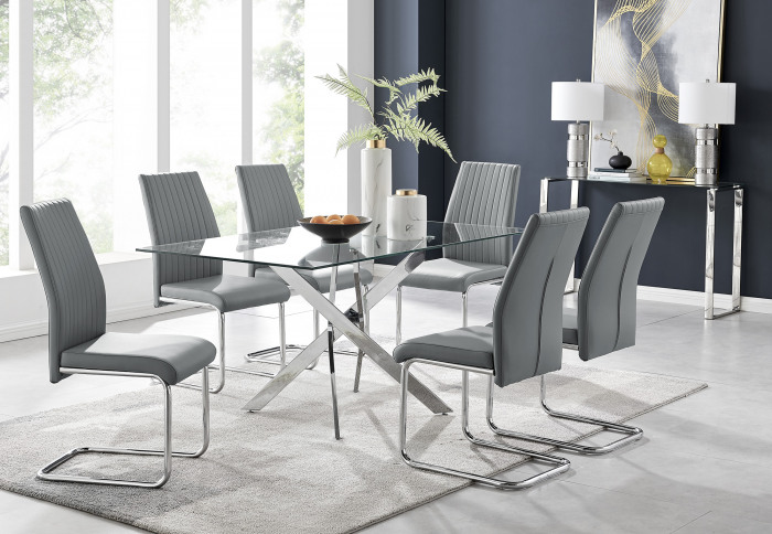 Leonardo Glass And Chrome Metal Dining Table And 6 Lorenzo Chairs