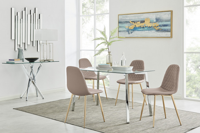 Cosmo Dining Table and 4 Corona Gold Leg Chairs