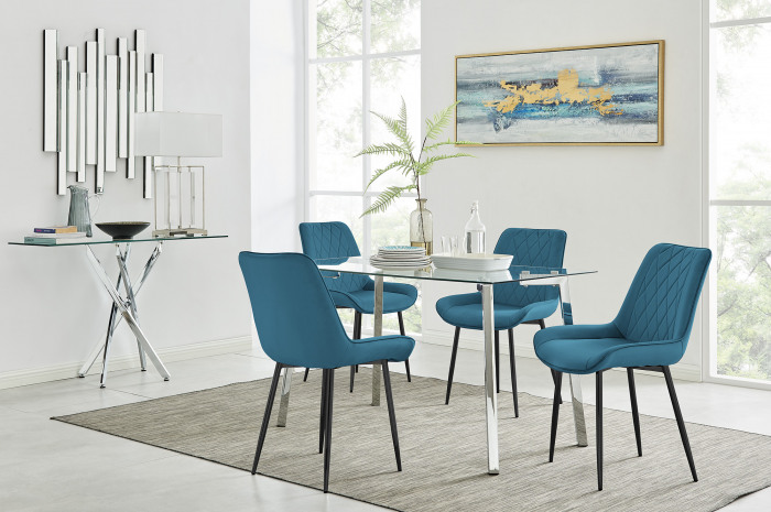 Cosmo Dining Table and 4 Pesaro Black Leg Chairs