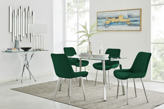 Cosmo Dining Table and 4 Pesaro Silver Leg Chairs