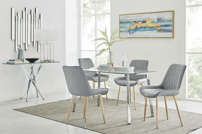 Cosmo Dining Table and 4 Pesaro Gold Leg Chairs