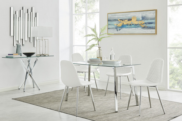 Cosmo Dining Table and 4 Corona Silver Leg Chairs