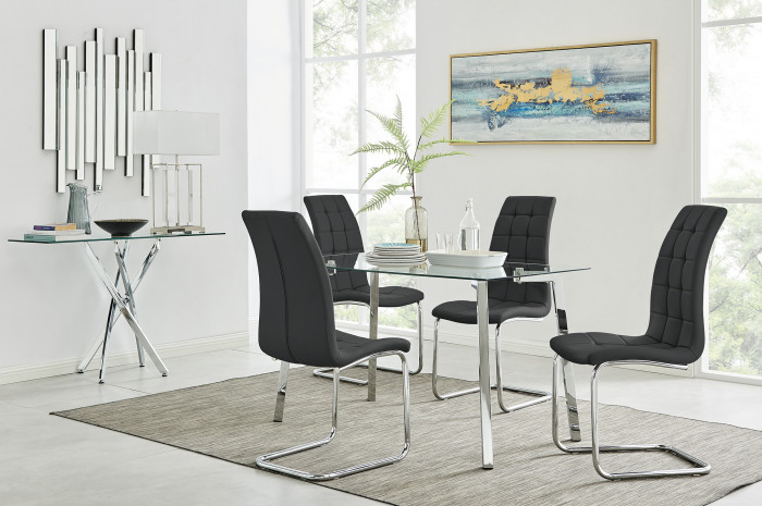 Cosmo Dining Table and 4 Murano Chairs