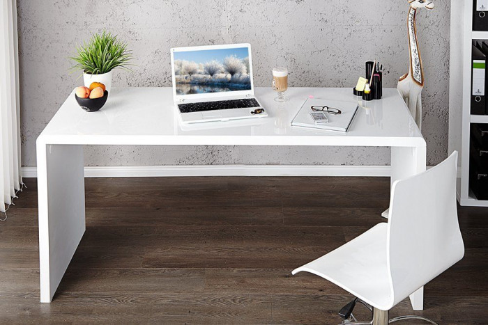 Enzo White High Gloss Computer Office Desk