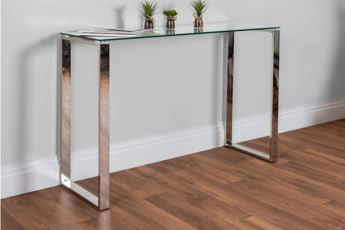 Miami Modern Clear Glass And Chrome Metal Console Table