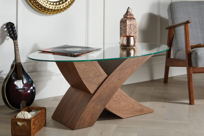 "Milano Dark Brown Oval ""X"" Coffee Table"
