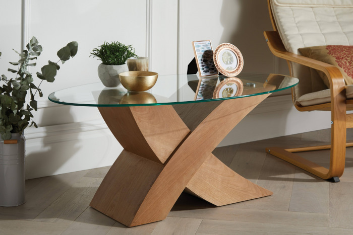 Milano Oak X Veneer Oval Glass Coffee Table