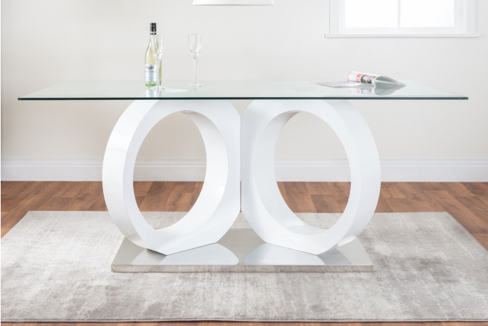 Modica Large Halo High Gloss And Glass Dining Table
