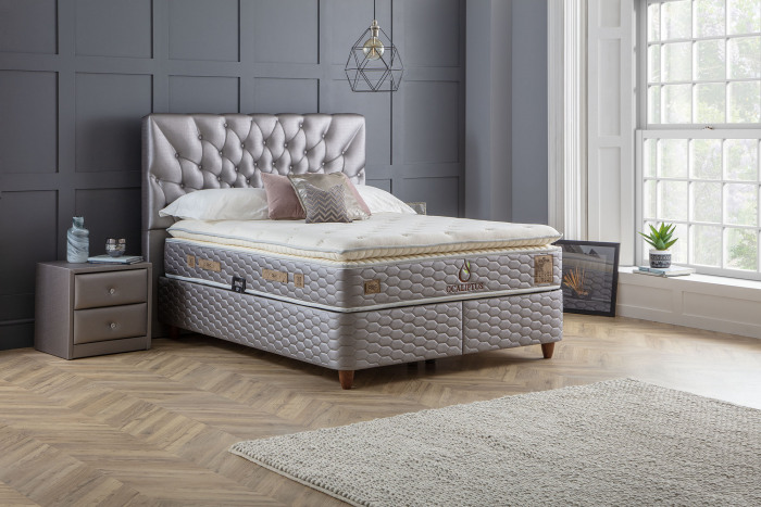 Ocaliptus Ottoman Divan Set with Mattress Satin Silver