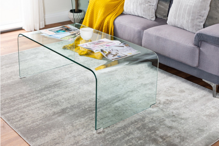 Turin Modern Clear Glass Curved Coffee Table