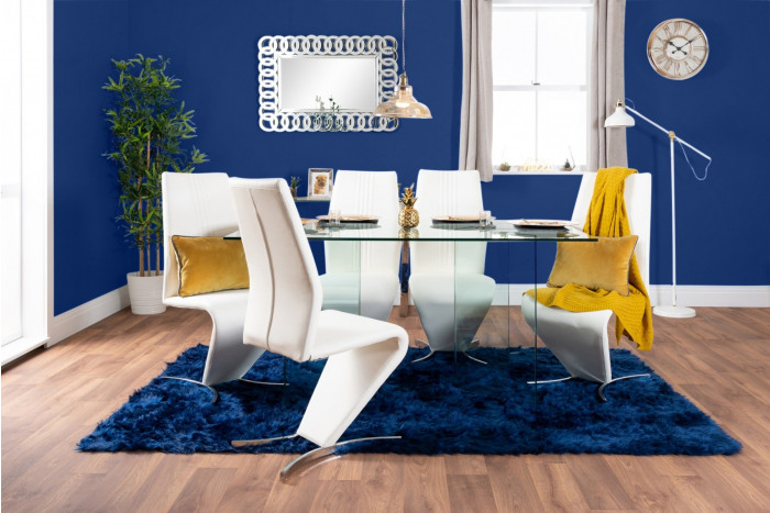 Turin Large Modern Clear All Glass Dining Table And 6 Willow Chairs Set