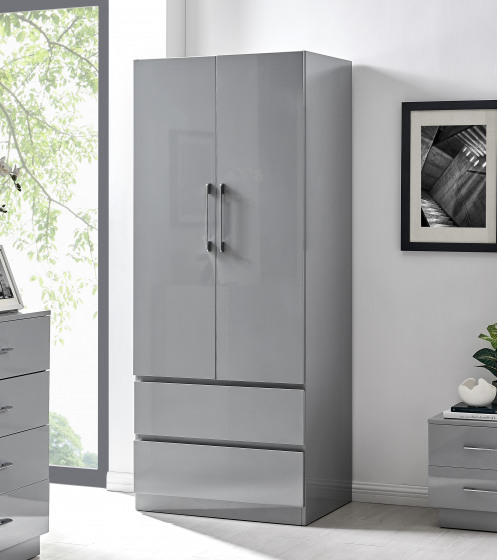 Fossano Grey High Gloss Double Door Wardrobe