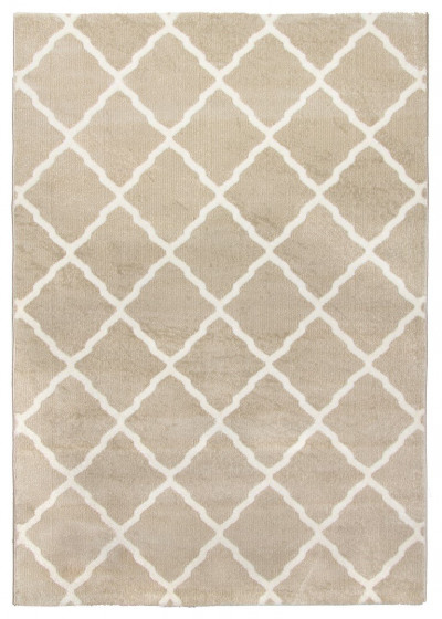 Toscana Moroccan Lattice Two-Tone Rug in Beige and Cream - 160x220cm