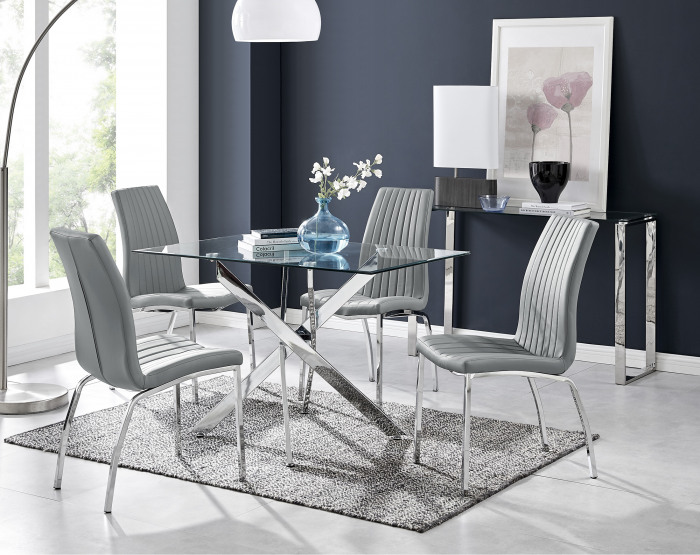 Leonardo Glass And Chrome Metal Dining Table And 4 Isco Chairs Set