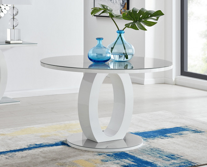 Giovani Grey White High Gloss And Glass Large Round Dining Table