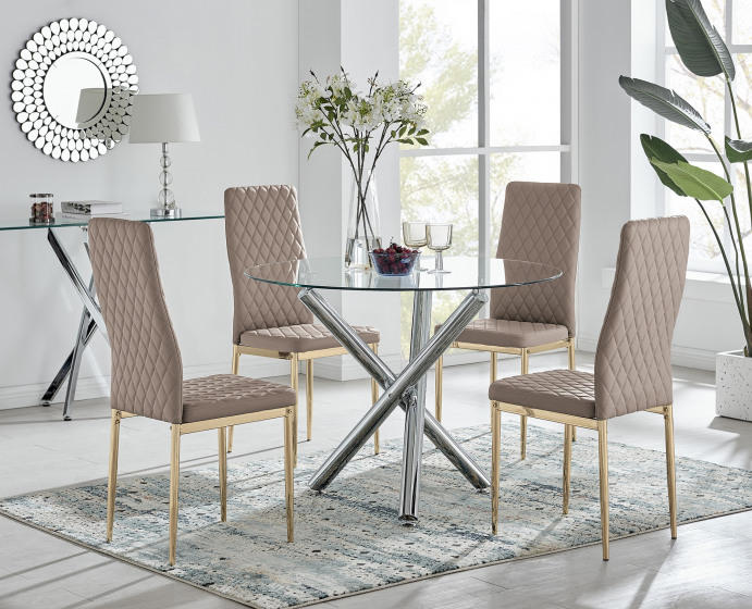 Selina Round Dining Table and 4 Gold Leg Milan Chairs
