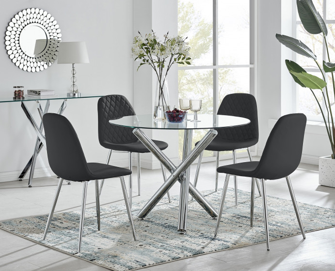 Selina Round Dining Table and 4 Corona Silver Leg Chairs