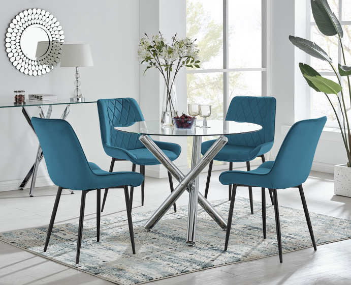 Selina Round Dining Table and 4 Pesaro Black Leg Chairs