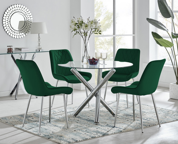 Selina Round Dining Table and 4 Pesaro Silver Leg Chairs