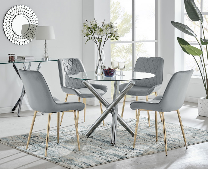 Selina Round Dining Table and 4 Pesaro Gold Leg Chairs