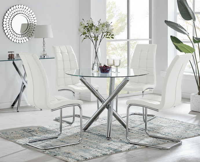 Selina Round Dining Table and 4 Murano Chairs