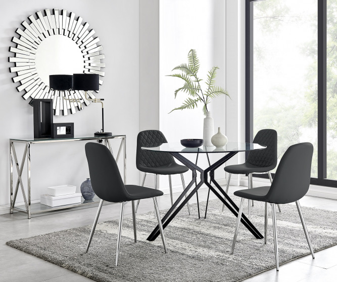 Cascina Dining Table and 4 Corona Silver Leg Chairs