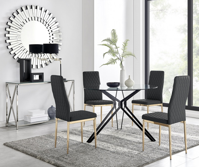Cascina Dining Table and 4 Gold Leg Milan Chairs